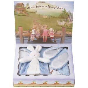 バニーズバイザベイ にぎにぎトイ ブランケット付 ギフトBOXセット ブルー ベビー用品 出産祝ギフト 誕生祝い 初節句祝 お祝い 内祝 お返し|lotus-bear