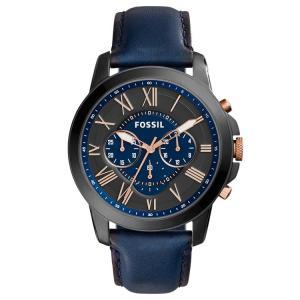 フォッシル 腕時計 メンズ グラント クロノグラフ ブラック/ローズゴールド/ブルーレザー FOSSIL GRANT FS5061