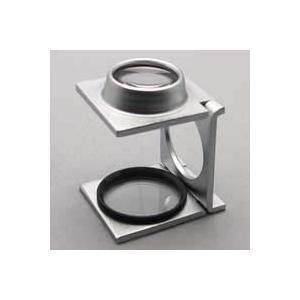 ルーペ 虫眼鏡 リネンテスター ガラススケール付き 折りたたみ式 ルーペ 8倍 0.1mm間隔スケール付き|loupe