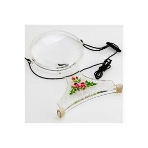 ルーペ 虫眼鏡 手芸用ルーペ 裁縫 6500-PP 2倍&4倍 100mm 花柄 両手が自由に使える首掛け拡大鏡 トールペイント|loupe
