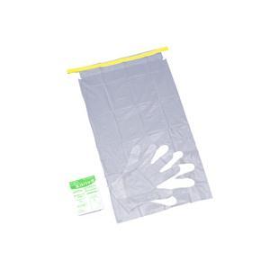 特許申請中特許商品衛生的で便利な手袋付携帯用ゴミ袋。汚物処理環境対策。商品サイズ:400×360mm...