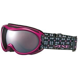 AXEスキー・スノボーゴーグル。曇り止め機能付き。メガネ・ヘルメット対応。女性にフィットするコンパク...