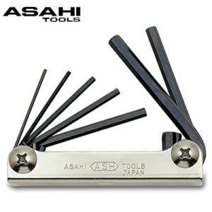 ナイフレンチ 六角棒レンチ 7本組 1.5-6mm ANS0710 旭金属工業 工具 DIY レンチ ハンドツール 修理 作業用工具|loupe