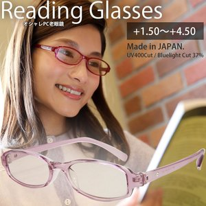 老眼鏡 シニアグラス リーディンググラス 日本製 (スワロフスキー石入り) ピンク ブルーライトカット 軽量 おしゃれ PCメガネ|loupe