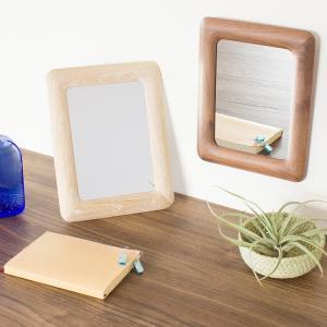 コカダ ウッドスタンド ウォール ミラー おしゃれ 壁掛け 木枠 鏡 卓上 かわいい Paladec|loupe