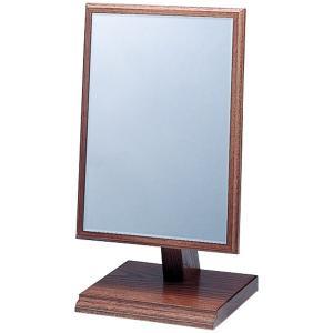 鏡 木材 スタンドミラー メイク 木製フレーム 木枠 卓上ミラー 卓上鏡 化粧鏡|loupe