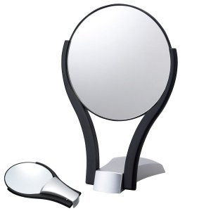 折りたたみ式鏡 プラスチック 鏡 スタンドミラー 卓上ミラー 卓上鏡 メイク 化粧鏡 丸型|loupe