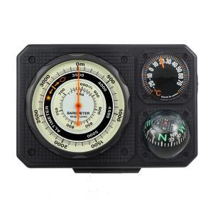 コンパス 方位磁石 高度計 気圧計 温度計 トラベルエイド 6 in 1 オイルコンパス 登山 釣り 方位磁針 ベルト 携帯|loupe