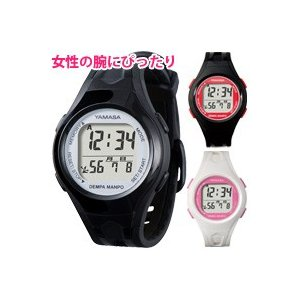 万歩計 腕時計タイプ 電波時計 レディース 少し小さめ 小型 ウォッチ万歩計 TM-450B 歩数計 カロリー ダイエット 健康 生活防水 ヤマサ|loupe