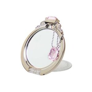 手鏡 ハンドミラー ダイヤモンドリング ミラー PINKGOLD YRG-800|loupe