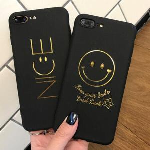 iPhoneケース NICE Smiley スマイル ブラック ゴールド 高級感 iPhoneX iPhone8 iPhone7 iPhone6 ペアでも人気 お揃い カップル