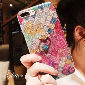 iPhoneXS ケース iPhoneX iPhone8 iPhone7 iPhone6 スマホケース 携帯ケース ステンドグラス風 おしゃれ リング ラメ キラキラ グリッダー 虹 レインボー