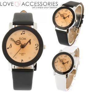 腕時計 レディース ウォッチ かわいい 長針・短針が音符モチーフになった可愛くおしゃれなレディースファッションウォッチ 腕時計