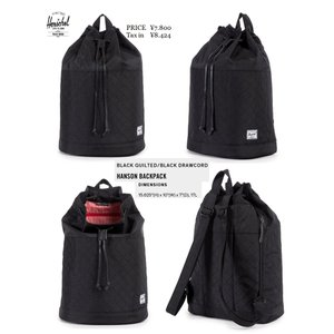 Herschel Supply Co Hanson Backpack Black Quilted/Black Drawcord バッグ BAG ハーシェル|loveandhate