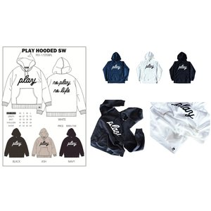 P01 17 - PLAY HOODED SW プレイ 長袖 フード パーカー NO PLAY NO LIFE WORK DAYS BECAME PLAY DAYS|loveandhate