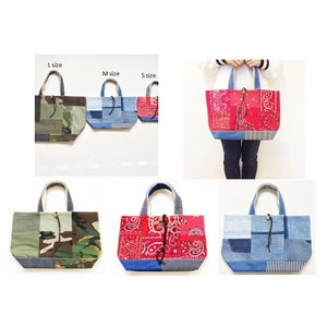 REMADE Patchwork TOTE BAG * パッチワーク トート バッグ SP-D 迷彩 デニム ヴィンテージビンテージ|loveandhate