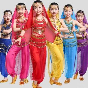 ベリーダンス 衣装 セット キッズ 5点ゼット子供用豪華ステージ衣装 出演 舞踊衣装 アラビア アラブ 衣装 アラビア衣装 パーティー衣装 イベント