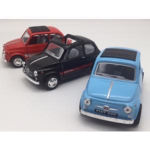 お得な3台セット 1/24 フィアット500 赤水色黒 ミニカー FIAT
