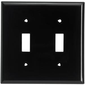 COOPER アメリカンスイッチ(トグルスイッチ)用スイッチプレート 2連用 ブラック(黒色) 5139BK|lovesmiletenn