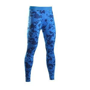LeoSport 迷彩 機能性 防臭インナー 加圧スパッツ 通気 基礎代謝アップ ロングスパッツ ブラック/レッド (L, ブルー) lovesmiletenn