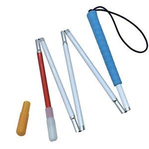 盲人用白杖 折りたたみ式五段 アルミ製, キャップ(2個) (青いゴムグリップ, 120 cm)|lovesmiletenn