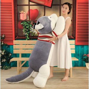 ぬいぐるみ ハスキー 抱き枕 ハスキー犬 グッズ 特大 大きい おもちゃ いぬ クリスマス お誕生日 プレゼント 記念日/飾り物200cm|lovesound