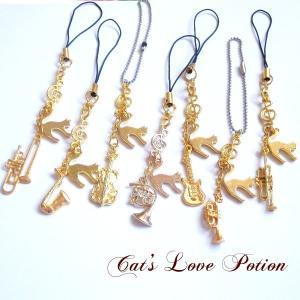 猫 ストラップ ねこ 吹奏楽部 楽器 キーホルダー ライトニング コネクタカバー Cat's Love Potion|lovexclp