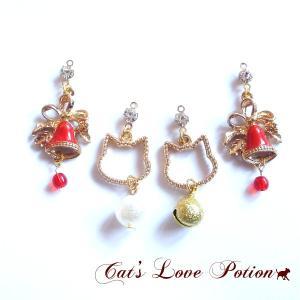 猫 ピアス クリスマス ベル  ピアス Cat's Love Potion|lovexclp