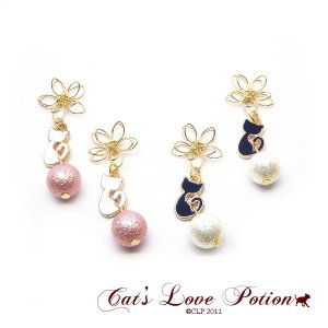 猫 和 ピアス フラワー パール 和風 ねこ ピアス Cat's Love Potion|lovexclp