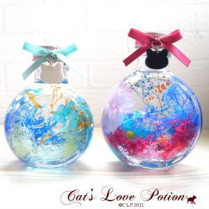 猫 ハーバリウム ねこリボン の アクアリウム ハーバリウム  ミニ 水槽 ハーバリウム Cat's Love Potion|lovexclp