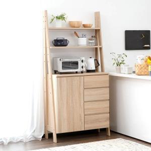 レンジ台 おしゃれ キッチン 収納 棚 チェスト カップボード ラック FAX台 電話台 完成品 幅82.5cm 選べる2タイプの写真
