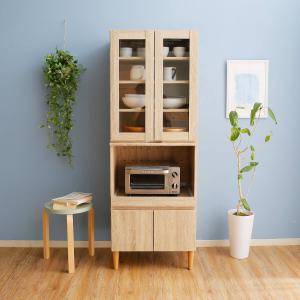 レンジ台 おしゃれ 食器棚 キッチン収納 幅59cm キッチンボード カップボード 上段/下段セット キッチン 収納 ラック チェストの写真