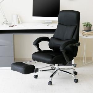 オフィスチェア リクライニング 肘付 ハイバック おしゃれ パソコン チェアー PC クッション付 椅子 フットレスト 足置き ロウヤ LOWYAの写真