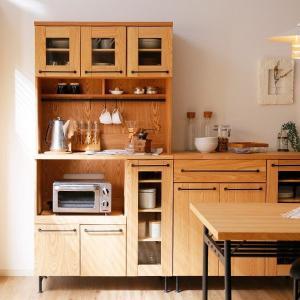 食器棚 おしゃれ 収納 レンジ台 キッチンキャビネット キッチン収納 キッチンラック ダイニングボード 組立簡単 半完成品の写真