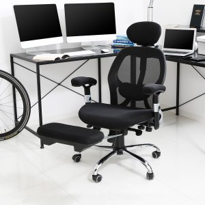 オフィスチェア PC パソコン リクライニングチェア 高反発 椅子 フットレスト 足置き 肘付