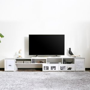 テレビ台 コーナー ローボード 伸縮式 オーディオラック テレビラック TVボード TV台 収納 おしゃれ シンプル 木製 42 32 52インチ リビングの写真