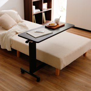 サイドテーブル おしゃれ センター 昇降式テーブル 伸縮式 高さ調節 ベッド横 補助台 キャスター付き ガス圧昇降 アイロン台 介護 ロウヤ LOWYAの写真