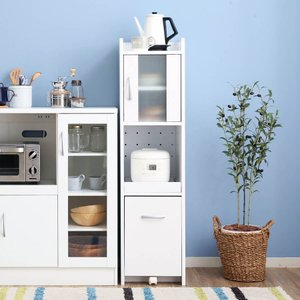 食器棚 おしゃれ レンジ台 隙間 ラック グッズ 収納 キッチン 幅32.5cm スリム キャスター付き ロウヤ LOWYAの写真