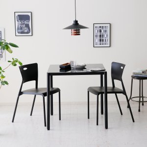 ダイニングテーブルセット 3点 2人用 ガラステーブル 食卓椅子 おしゃれ カフェ スタイルの写真