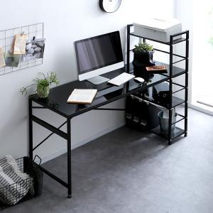 デスク パソコンデスク 机 幅140cm ライティング オフィス ガラス ワーク ガラス ラック 学習机 勉強机 ラック一体型 おしゃれの写真