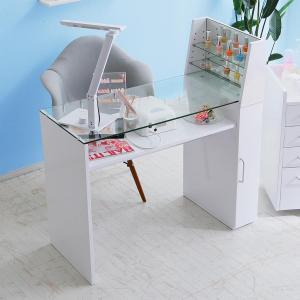 ネイルデスク おしゃれ ネイルテーブル デスク ガラス天板 棚付 可動棚 収納 ディスプレイ ネイル専用 ネイルサロンに コンパクト 新生活 一人暮らし 家具