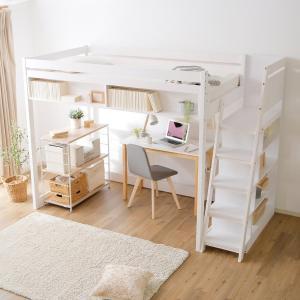 ロフトベッド シングル 木製 すのこ システム 子供部屋 収納 本棚付き すのこ 天然木 キッズ ワンルーム 天然木 おしゃれ 新生活 一人暮らし 家具