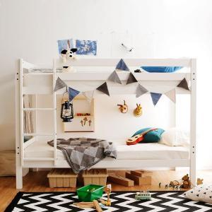 どんなテイストのお部屋にもスッと馴染む、シンプル木製二段ベッドです。 サイズ:幅207.5x奥行11...