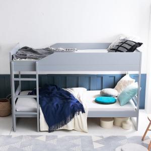 子どもの顔が見やすい低めのミドルタイプ2段ベッド。子どもの成長や好みに合わせて、ベッドの組み方を変え...