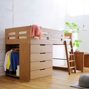 ベッドと収納が一体となった、デスク付きシステムベッド! 一体型ベッド収納で、狭いお部屋も広く使えます...