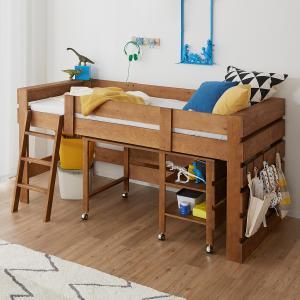 天然木無垢材で作り、使い込むほどに味をだしていくヴィンテージ調デザインのシステムベッド。ベッドとデス...