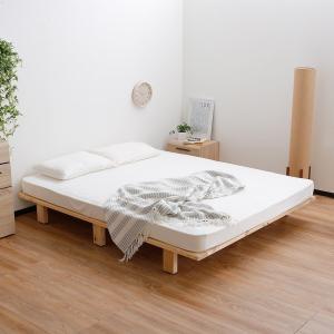 【Qサイズ】天然木の無垢材をそのままベッドに。 サイズ:幅195x奥行160x高さ21cm 素 材:...