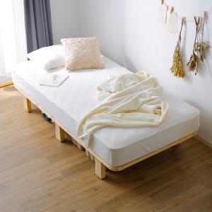 ベッド セミシングル SS 195×85cm フレーム すのこ 角丸 ハイタイプ 収納 スノコ パイン 木製 おしゃれ ロウヤ LOWYAの写真