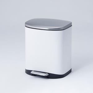 【容量20L】金属の質感がオシャレで、スタイリッシュなデザインのフットペダル式ダストボックスです。 ...