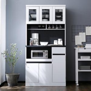 食器棚 90cm キッチン収納 おしゃれ 収納 スリム レンジ台 キッチン 組合せ カップボード キッチンラック 選べる4タイプ ロウヤ LOWYA